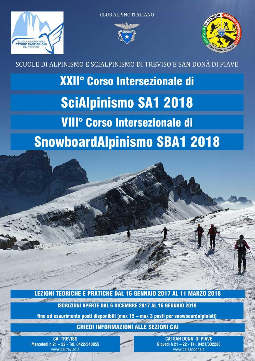 22° Corso di sci alpinismo SA1 2018 - 8° Corso di snowboard alpinismo SBA1 2018